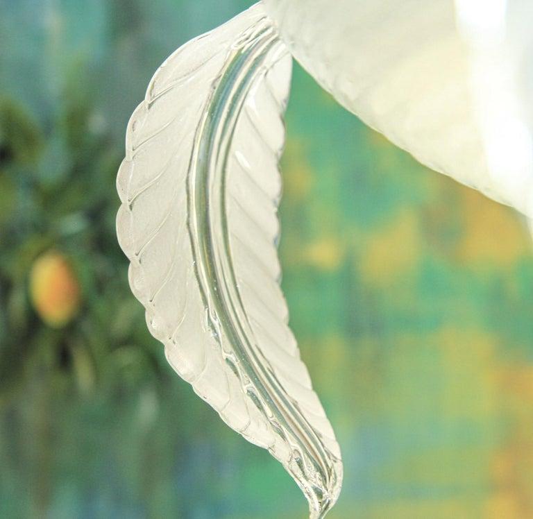 Barovier Toso Chandelier, White Crucible Puligoso, Murano Glass, Deco 1930s In Good Condition In Tavarnelle val di Pesa, Florence
