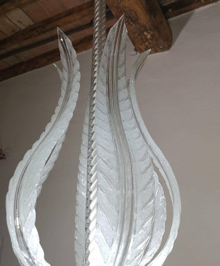 Barovier Toso Chandelier, White Crucible Puligoso, Murano Glass, Deco 1930s 1