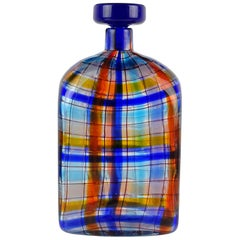 Barovier Toso Christian Dior Signed Tartan Murano Italian Art Glass Bottle