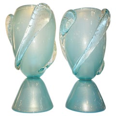 Barovier Toso Contemporary Italian Modern Pair of Aqua Blue Murano Glass Lamps