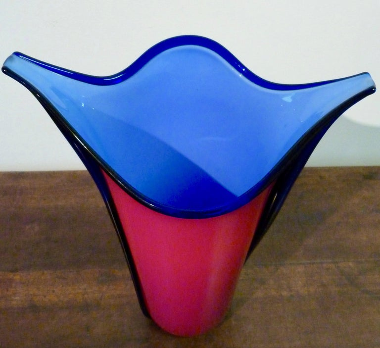 Italian Barovier & Toso Important Large Murano Glass Vase by Toni Zuccheri, Dated 1983 For Sale