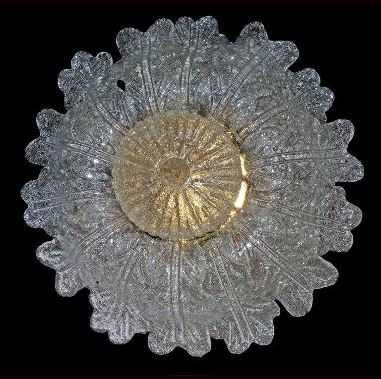 Barovier & Toso Italian Murano Art Glass Flower Leaves and Gilt Brass Chandelier For Sale 4