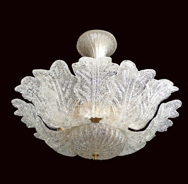 20th Century Barovier & Toso Italian Murano Art Glass Flower Leaves and Gilt Brass Chandelier For Sale
