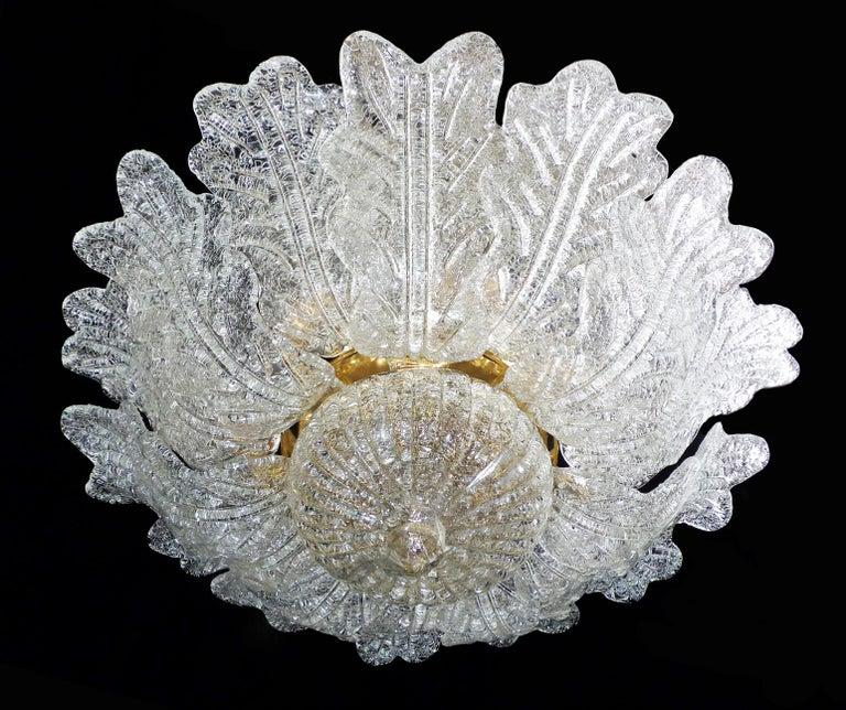 Murano Glass Barovier & Toso Italian Murano Art Glass Flower Leaves and Gilt Brass Chandelier For Sale