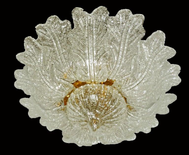 Barovier & Toso Italian Murano Art Glass Flower Leaves and Gilt Brass Chandelier For Sale 2