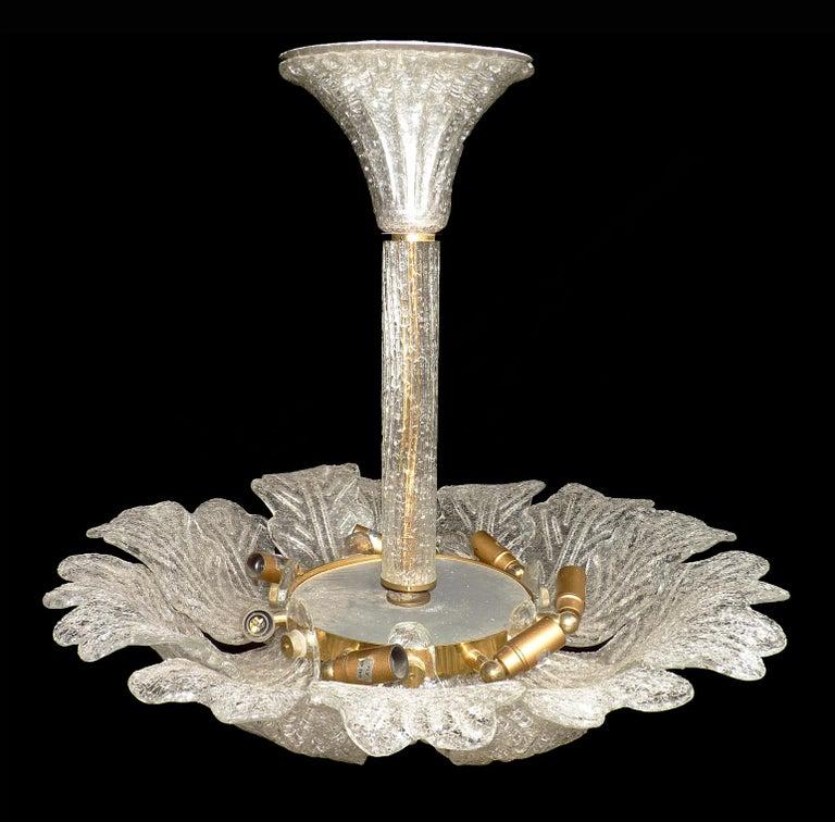 Barovier & Toso Italian Murano Art Glass Flower Leaves and Gilt Brass Chandelier For Sale 3