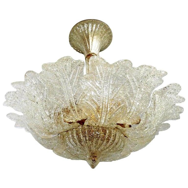 Barovier & Toso Italian Murano Art Glass Flower Leaves and Gilt Brass Chandelier For Sale