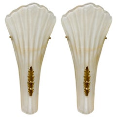 Barovier & Toso Large Murano Art Glass Leaf Sconces 'Wall-Lights', circa 1960s