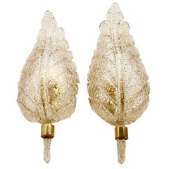 Barovier & Toso Large Murano Art Glass Leaf Sconces 'Wall-Lights', circa 1970s