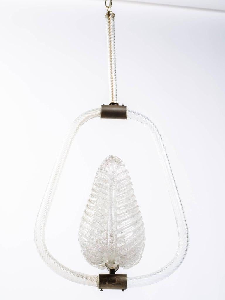 Mid-20th Century Barovier & Toso Leaf Murano Glass Pendant Chandelier, Art Deco, c. 1940 For Sale
