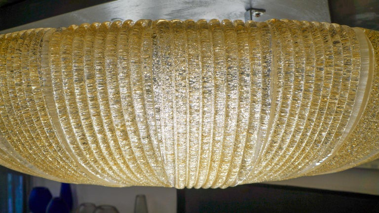 Barovier & Toso Mid-Century Modern Amber Murano Glass Ceiling Chandelier, 1970s For Sale 6