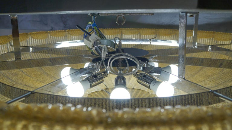 Barovier & Toso Mid-Century Modern Amber Murano Glass Ceiling Chandelier, 1970s For Sale 7