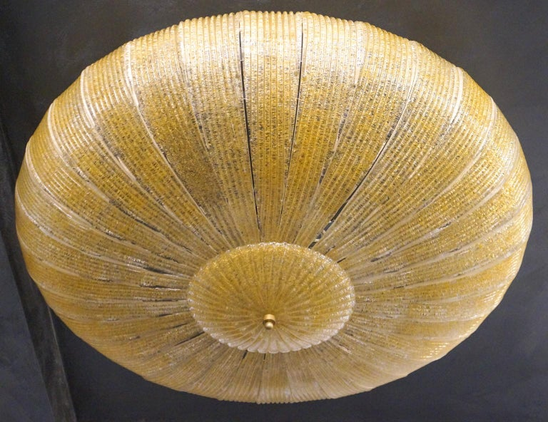 Barovier & Toso Mid-Century Modern Amber Murano Glass Ceiling Chandelier, 1970s For Sale 11