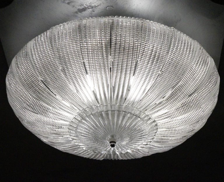 Barovier & Toso Mid-Century Modern Crystal Murano Glass Ceiling Chandelier, 1970 For Sale 7