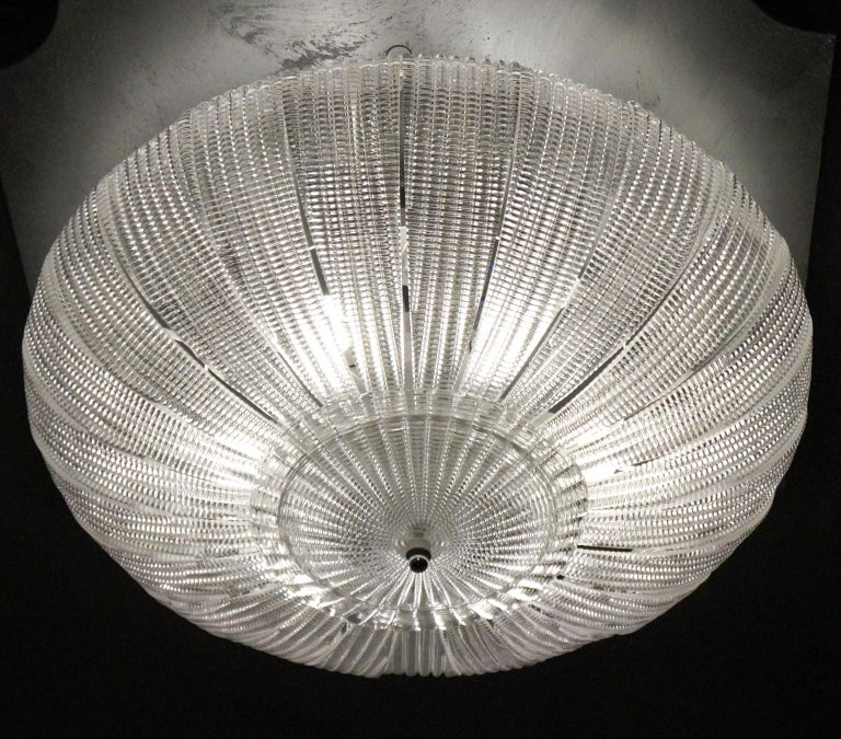 Barovier & Toso Mid-Century Modern Crystal Murano Glass Ceiling Chandelier, 1970 For Sale 8