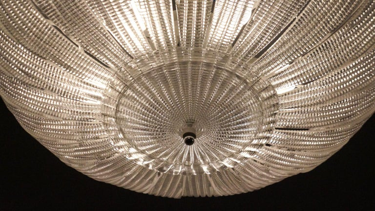 Barovier & Toso Mid-Century Modern Crystal Murano Glass Ceiling Chandelier, 1970 For Sale 13