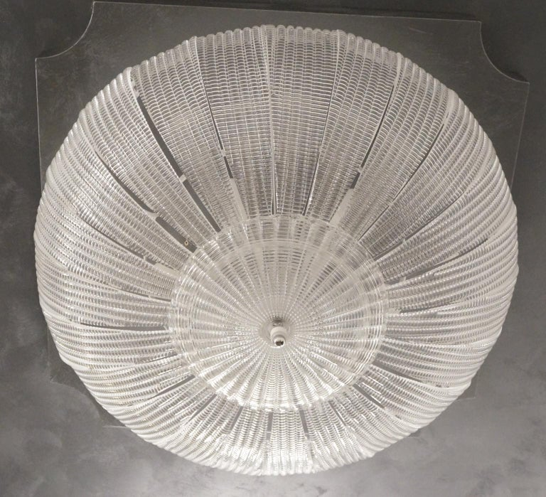 Hand-Crafted Barovier & Toso Mid-Century Modern Crystal Murano Glass Ceiling Chandelier, 1970 For Sale