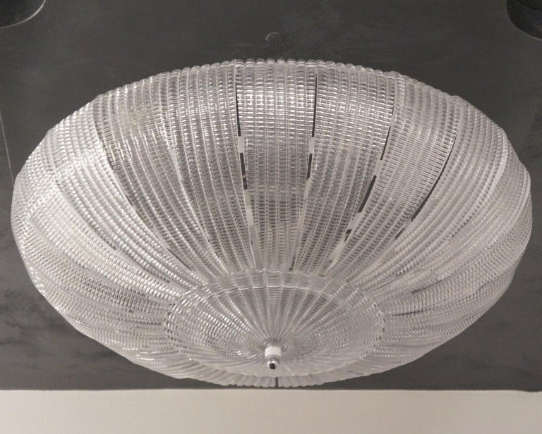 Barovier & Toso Mid-Century Modern Crystal Murano Glass Ceiling Chandelier, 1970 In Excellent Condition For Sale In Murano, Venezia