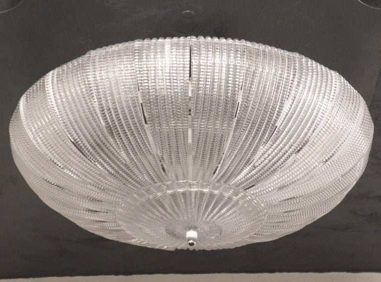 Late 20th Century Barovier & Toso Mid-Century Modern Crystal Murano Glass Ceiling Chandelier, 1970 For Sale