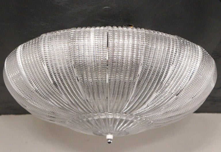 Barovier & Toso Mid-Century Modern Crystal Murano Glass Ceiling Chandelier, 1970 For Sale 2