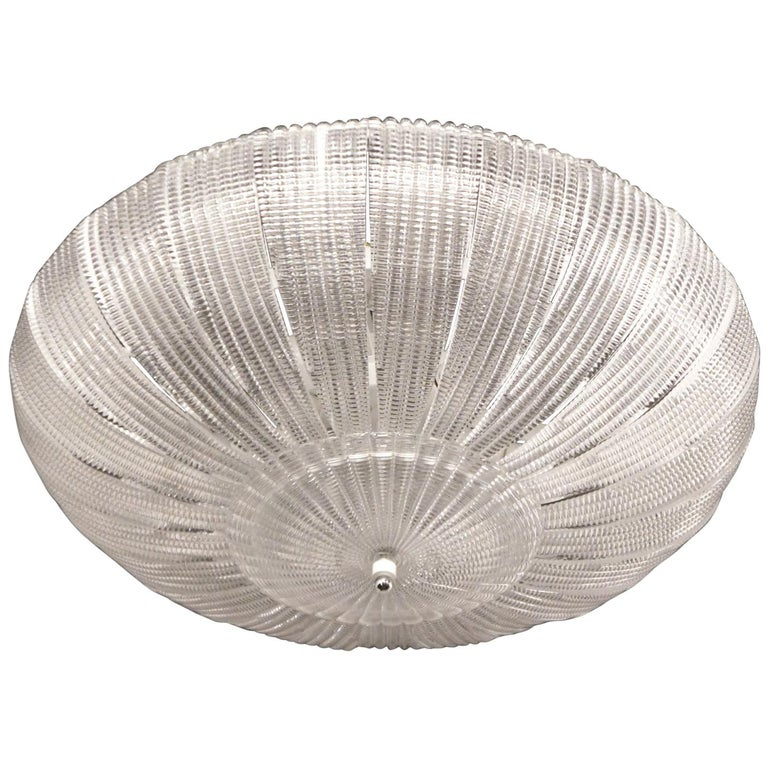 Barovier & Toso Mid-Century Modern Crystal Murano Glass Ceiling Chandelier, 1970 For Sale