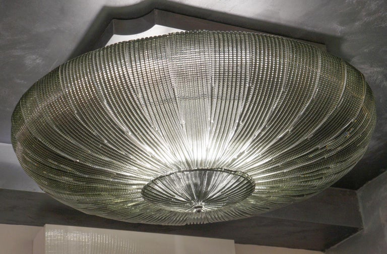 Barovier & Toso Mid-Century Modern Grey Murano Glass Ceiling Chandelier, 1970s For Sale 4