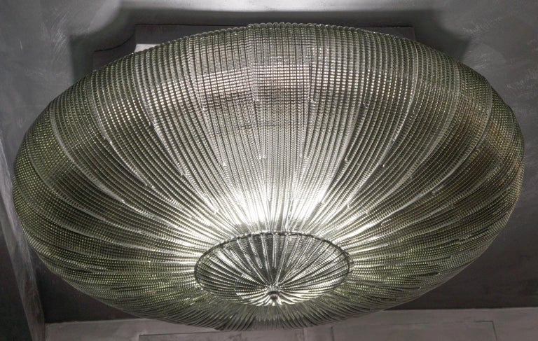 Barovier & Toso Mid-Century Modern Grey Murano Glass Ceiling Chandelier, 1970s For Sale 5