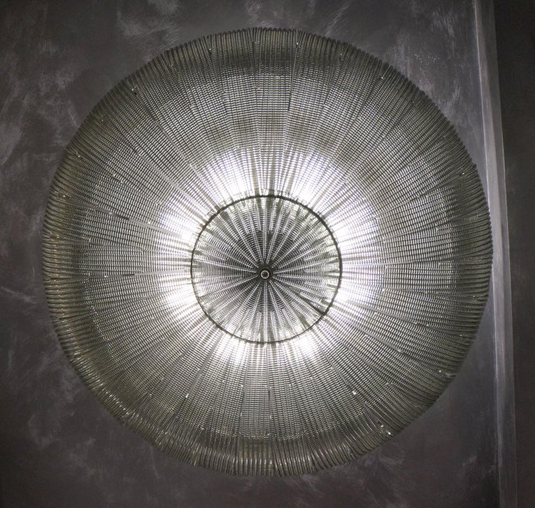Italian Barovier & Toso Mid-Century Modern Grey Murano Glass Ceiling Chandelier, 1970s For Sale