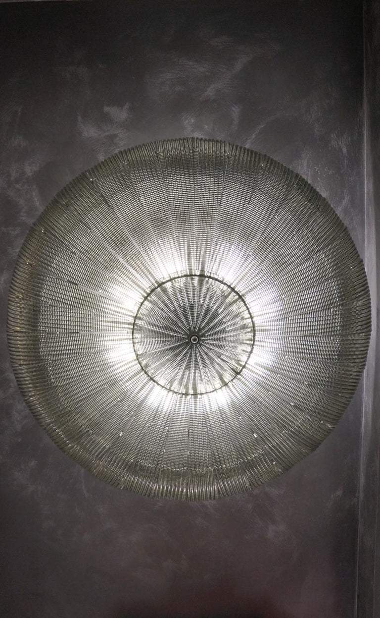 Hand-Crafted Barovier & Toso Mid-Century Modern Grey Murano Glass Ceiling Chandelier, 1970s For Sale