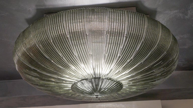 Late 20th Century Barovier & Toso Mid-Century Modern Grey Murano Glass Ceiling Chandelier, 1970s For Sale