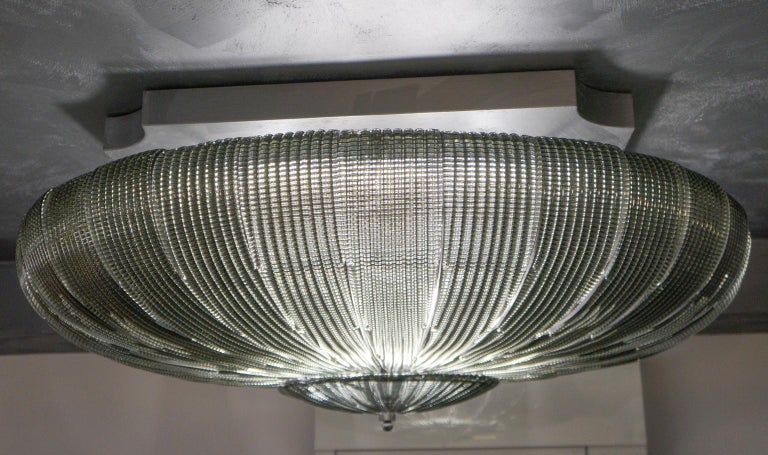 Art Glass Barovier & Toso Mid-Century Modern Grey Murano Glass Ceiling Chandelier, 1970s For Sale