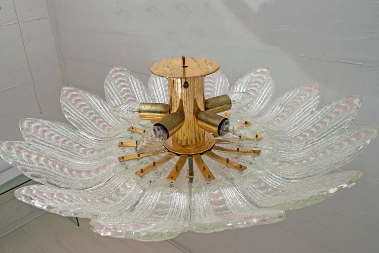 Barovier & Toso Style Midcentury Murano Glass Italian Ceiling Chandelier, 1970s 5