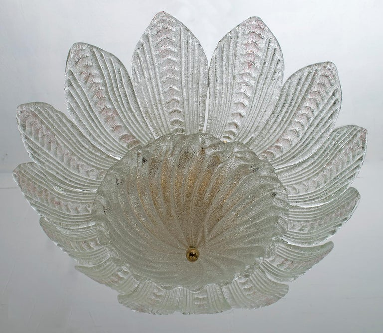 Late 20th Century Barovier & Toso Style Midcentury Murano Glass Italian Ceiling Chandelier, 1970s