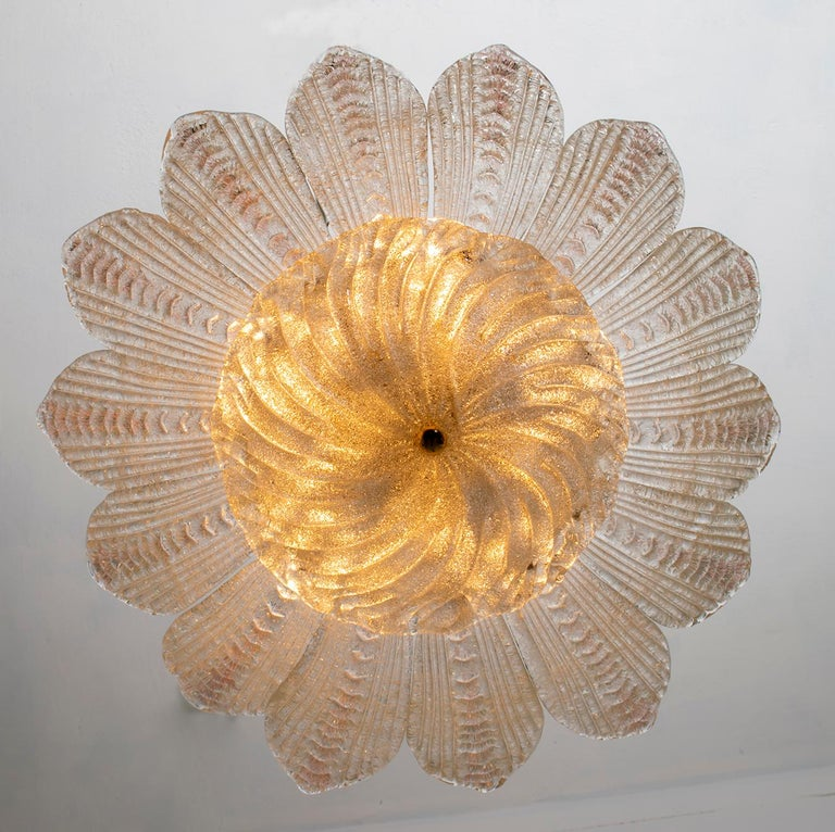 Barovier & Toso Style Midcentury Murano Glass Italian Ceiling Chandelier, 1970s 1