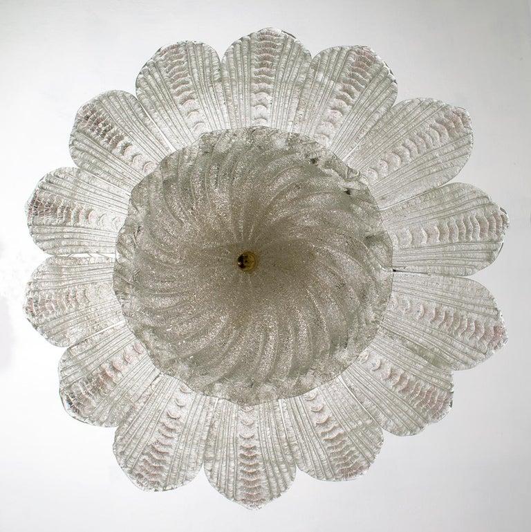 Barovier & Toso Style Midcentury Murano Glass Italian Ceiling Chandelier, 1970s 2