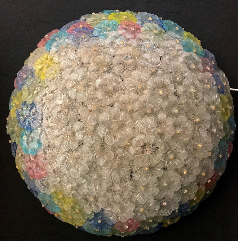 Barovier & Toso Multi-Color Murano Flower Glass Ceiling Light, 1950s For Sale 4