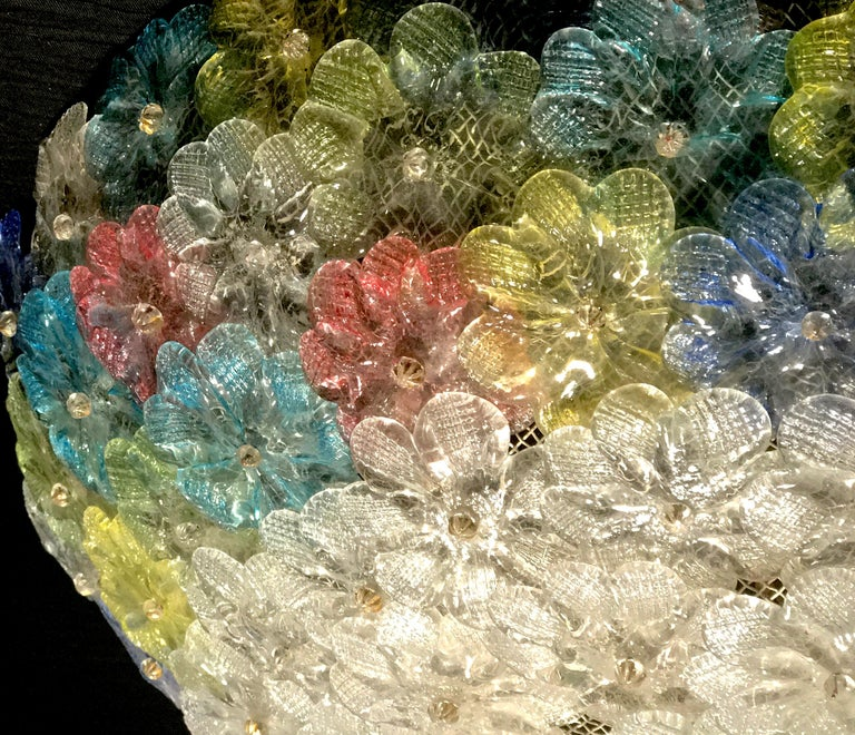Barovier & Toso Multi-Color Murano Flower Glass Ceiling Light, 1950s For Sale 6