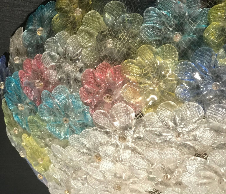 Blown Glass Barovier & Toso Multi-Color Murano Flower Glass Ceiling Light, 1950s For Sale