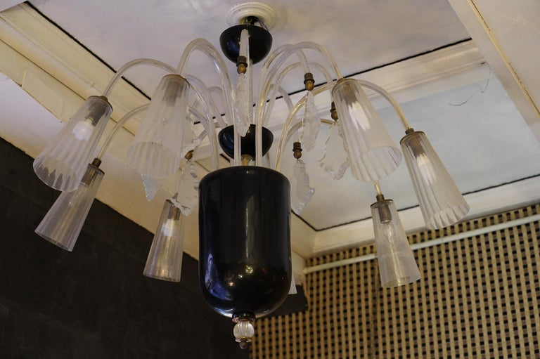Barovier & Toso Murano Black and White Art Glass Chandeliers, 1930 In Excellent Condition For Sale In Rome, IT
