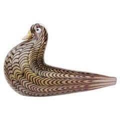 Barovier Toso Murano Chevron Stripe Gold Flecks Italian Art Glass Bird Sculpture
