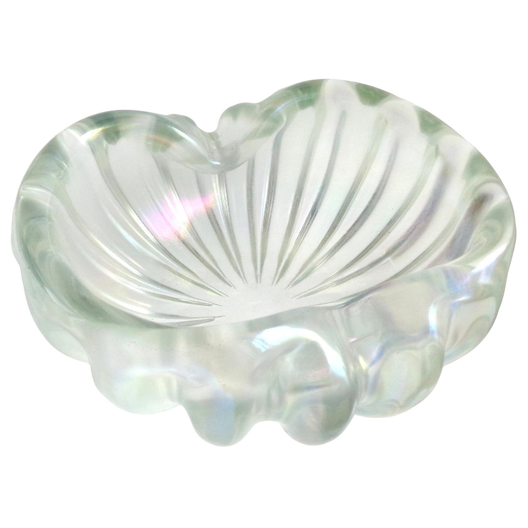 Barovier Toso Murano Clear Iridescent Italian Art Glass Chunky Ribbed Bowl