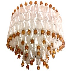 Barovier & Toso Murano Glass Blocks with Gold Rosettes Chandelier, 1940