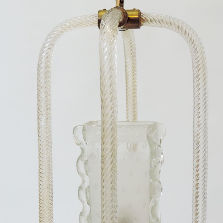 Art Deco Barovier & Toso Murano Glass Ceiling Lamp, Italy, 1940s For Sale