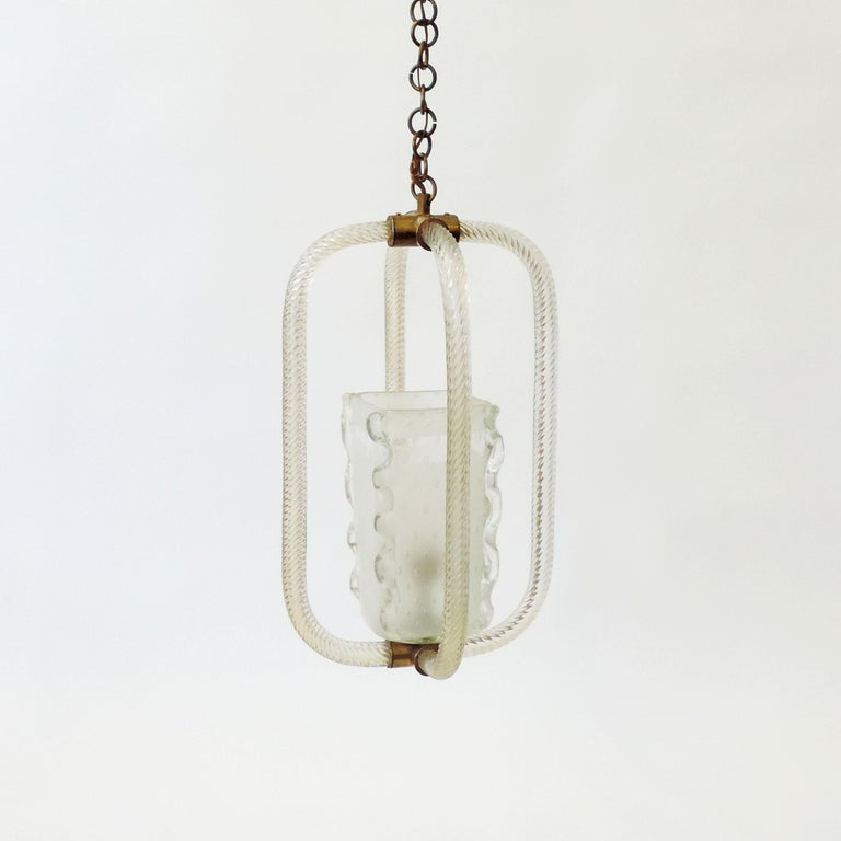 Brass Barovier & Toso Murano Glass Ceiling Lamp, Italy, 1940s For Sale