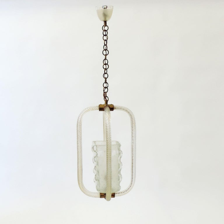 Barovier & Toso Murano Glass Ceiling Lamp, Italy, 1940s For Sale 1