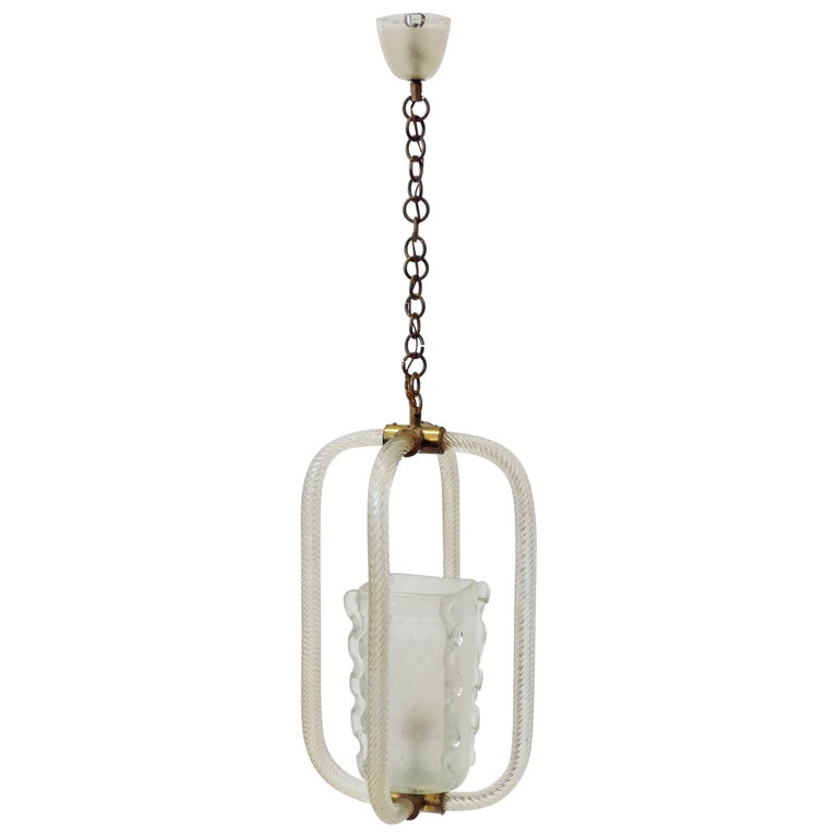 Barovier & Toso Murano Glass Ceiling Lamp, Italy, 1940s For Sale