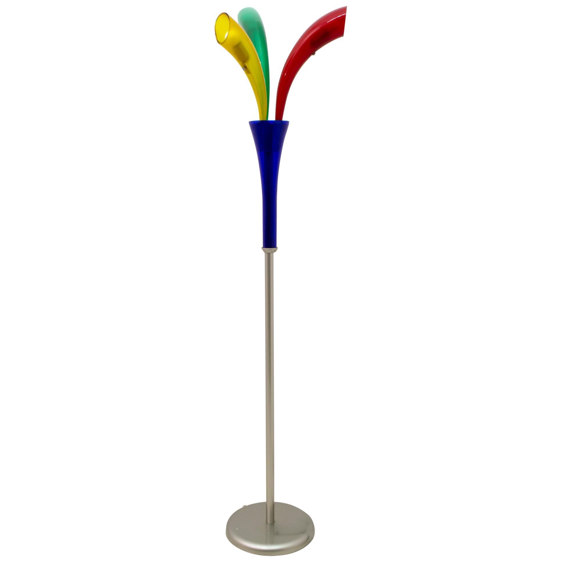 "Barovier & Toso Murano Glass Italian ""Fireworks"" Floor Lamp, 1990s"