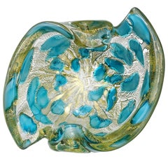 Barovier Toso Murano Gold Flecks Blue Spots Italian Art Glass Bowl Ashtray Dish