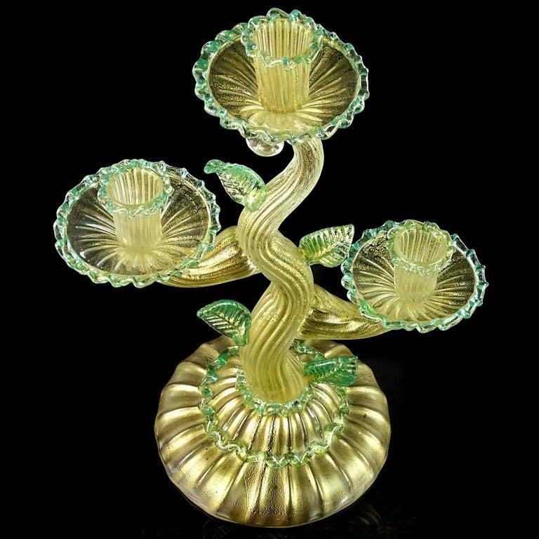 Art Deco Barovier Toso Murano Gold Flecks Green Italian Art Glass Candelabra Candleholder For Sale