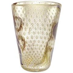 Barovier Toso Murano Gold Flecks Grey Purple Spirals Italian Art Glass Vase